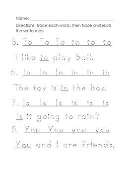 Fry's First 8 Words Practice