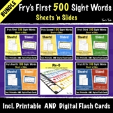 Fry's First 500 Sight Words | Google Slides Activities + Print & Go Worksheets!