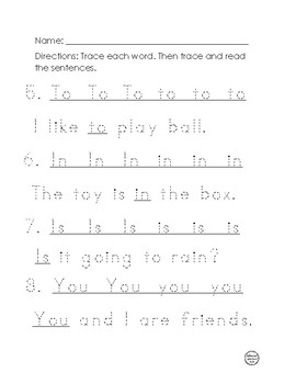 Fry's First 52 Words Practice