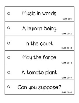 Fry's Fluency Phrases - Sixth 100