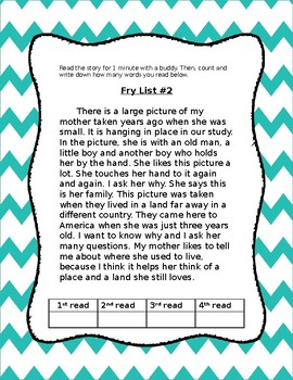 Fry's Fluency Reading Passages