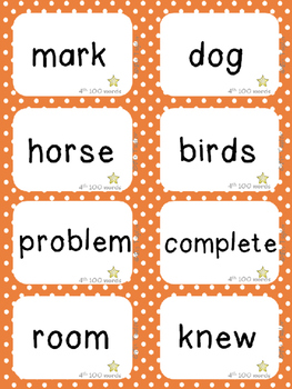 Fry's Fourth 100 Sight Words/High Frequency Words!