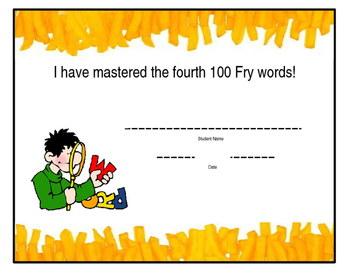 Fry's High Frequency Word List Certificate