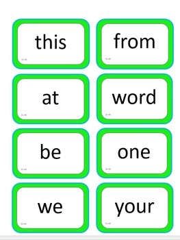 Fry's Instant Words 1-60 - Sight Word Flashcards