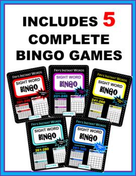 Fry's Instant Words Bingo BUNDLE 3 -Instant Words 200-300 (Includes 5 games)
