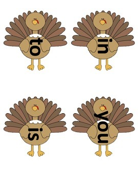 Fry's List 1 - Thanksgiving - sight word jump