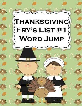 Fry's List 1 - Thanksgiving - sight word jump