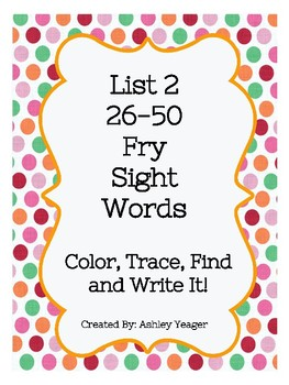 Fry's List 2 Sight Work