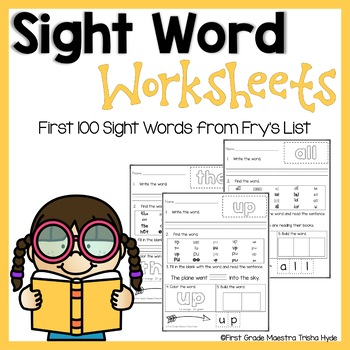 High Frequency Words Fry's List  First 100 HFW Practice Worksheets
