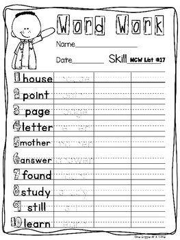 Fry's Most Common Word List (Second 130 Words) Practice Pages
