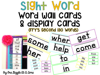 Fry's Most Common Word List (Second 130 Words) Word Wall Cards & Display Cards