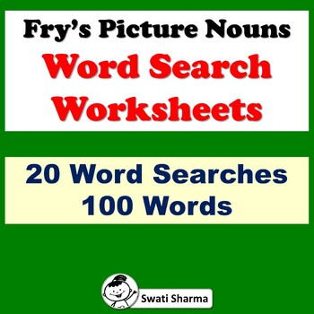 Fry's Picture Nouns Word Search Worksheets