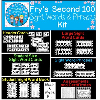 Fry's Second 100 Black and White Sight Words and Phrases Kit