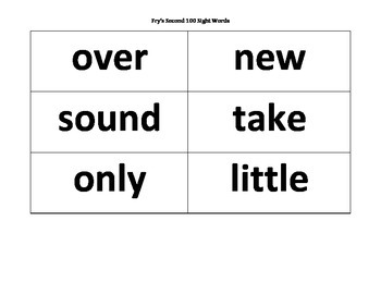 Fry's Second 100 Sight Word List and Flashcards (101-200)