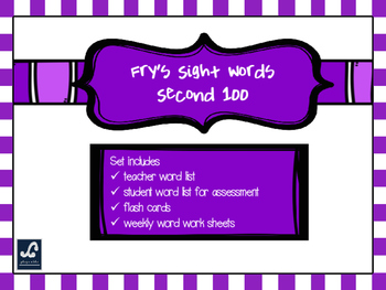 Fry's Second 100 Weekly Sight Word Work
