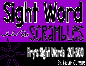 Fry's Sight Word (201-300) Scramble