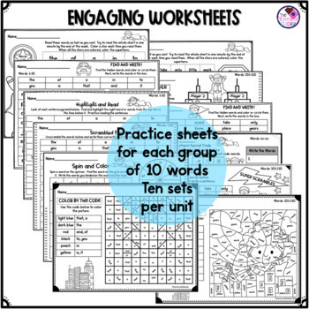 Fry's Sight Word Activities, Games, Worksheets BUNDLE Words 1-200