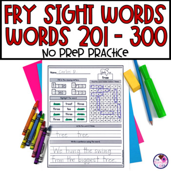 Fry's Sight Word Practice 3rd Hundred Words NO PREP Words 201-300