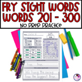 Fry's Sight Word Worksheets 3rd Hundred Words NO PREP Words 201-300