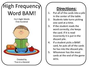 Fry's Sight Word BAM- First Hunderd
