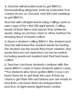 Fry's Sight Word Bingo (1-25, 26-50)
