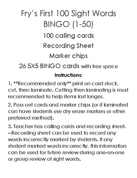 Fry's Sight Word Bingo (1-50, 51-100)