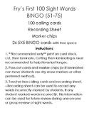 Fry's Sight Word Bingo (51-75, 76-100)