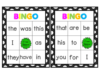 Sight Word Bingo Words 1-25