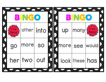 Sight Word Bingo Words 50 - 75