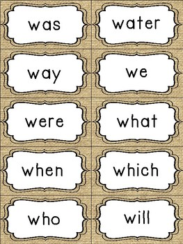 Fry's Sight Word Cards (1-500) Rustic Edition Burlap