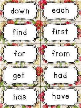 Fry's Sight Word Cards (1-500) Shabby Chic Edition
