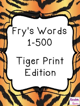 Fry's Sight Word Cards (1-500) Tiger Print Edition