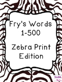 Fry's Sight Word Cards (1-500) Zebra Print Edition