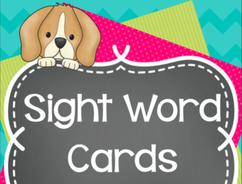 Fry's Sight Word Cards - Puppy Themed Word Wall BUNDLE