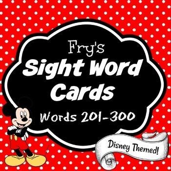 Fry's Sight Word Cards (words 201-300) {Disney Themed & Editable} Set #3