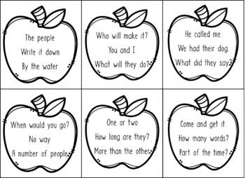 Fry's Sight Word Fluency Phrases - 168 phrases on apple cards