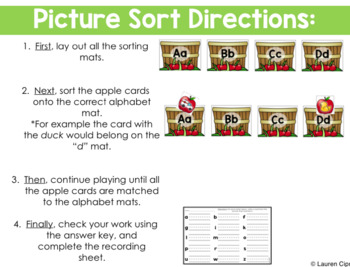 Beginning Alphabet Sound Sort (Apple Themed)