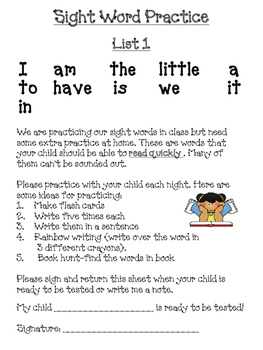 Sight Word Letter To Parents Worksheets & Teaching Resources   TpT