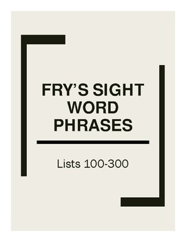 Fry's Sight Word Phrases PREVIEW First 100