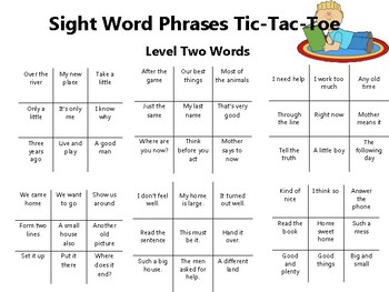 Fry's Sight Word  Phrases Tic-Tac-Toe