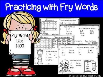 Fry's Sight Word Practice (Words 1-100)
