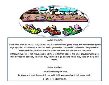 Fry's Sight Word Read and Race Game