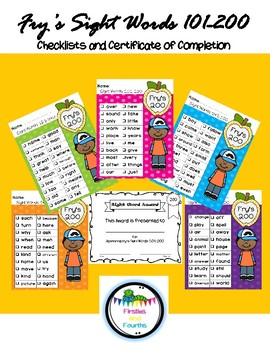 Fry's Sight Words 200 Checklist and Certificate - Frys Fry