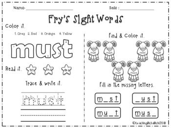 Fry's Sight Words 2nd 51-100 Words Printables Worksheets