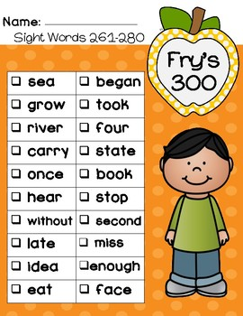 Fry's Sight Words 300 Checklist and Certificate - Frys Fry