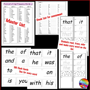 Fry's Sight Words Activities and Bingo Games First 100 words