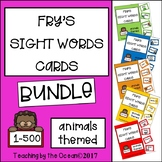 Fry's Sight Words Cards - Animal Themed BUNDLE
