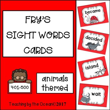 Fry's Sight Words Cards - Animals Themed (fifth hundred)