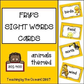Fry's Sight Words Cards - Animals Themed (fourth hundred)