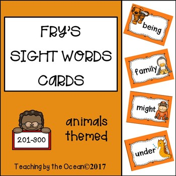 Fry's Sight Words Cards - Animals Themed (third hundred)